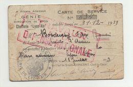 Carte Service 1939 Chefferie Lyon Air Bron Travaux Défense Nationale - Documents Historiques