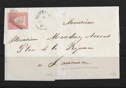 1854-1862 Helvetia (Ungezähnt) Strubel →  Brief Neuchatel Nach Lausanne   ►SBK-24A◄ - 1854-1862 Helvetia (Non-dentelés)