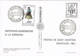 32303. Tarjeta Postal BAÑOLAS (Gerona) 1983. Centenariuo Compositor JOSEP SADERRA. Sardana - 1931-Hoy: 2ª República - ... Juan Carlos I