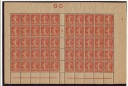 CR-8: FRANCE: Lot Avec N°138j**bloc De 50 Avec Mill 6 (manchette GC) - 1906-38 Sower - Cameo