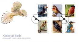 Europa 2019 - Guernsey Guernesey - FDC Oiseaux (Puffin, Linnet, Bullfinch, Goldfinch, Starling, Kingfisher) - Collections, Lots & Séries