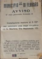 MANIFESTO ORIGINALE DEL MUNICIPIO DI FERRARA DEL 31 LUGLIO 1950 - Manifesti