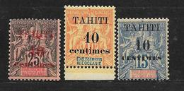 TAHITI - N° 31.32.33 NEUF **  - COTE = 52.50 € - Tahiti (1882-1915)