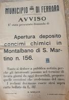 MANIFESTO ORIGINALE DEL MUNICIPIO DI FERRARA DEL 28 GIUGNO 1949 - Manifesti