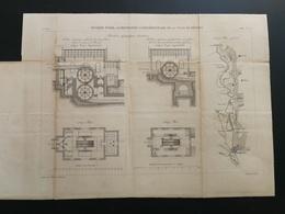 ANNALES PONTS Et CHAUSSEES (DEP34) -Rivière D'orb. Alimentation Complémentairede Béziers - Graveur E. Pérot 1883 (CLB11) - Travaux Publics