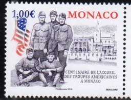 MONACO, 2019, MNH,WWI, 100th ANNIVERSARY OF WELCOMING OF AMERICAN TROOPS TO MONACO,1v - WW1