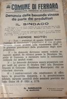 MANIFESTO ORIGINALE DEL COMUNE DI FERRARA - DIREZIONE IMPOSTE DI CONSUMO - DEL 1947 - Manifesti