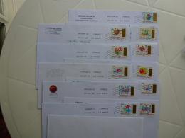 13 TIMBRES A GRATTER SUR ENVELOPPE - Poststempel (Briefe)
