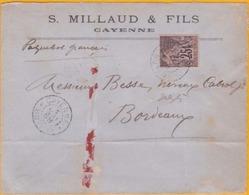1888 - Guyane Française - French Guiana - Enveloppe Commerciale De Cayenne Vers Bordeaux Par Paquebot Français - YT 97 - Guyane Française (1886-1949)