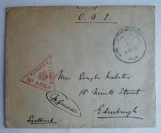 LETTRE O.A.S. AVEC CACHET DE CENSURE ANGLAIS A DESTINATION EDIMBOURG ECOSSE 1916 - Guerre Mondiale (Première)