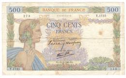 Billet 500 Francs France La Paix 19-12-1940.FG. - 1871-1952 Gedurende De XXste In Omloop