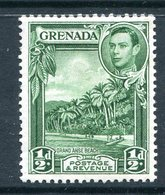 Grenada 1938-50 KGVI Pictorials - ½d Grand Anse Beach - Blue-green - P.12½ X 13½ - HM (SG 153ba) - Grenada (...-1974)