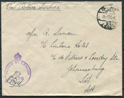 1942 Egypt O.A.S. Military Censor Cover SAAF - Lintons Hotel, Johannesburg South Africa - Covers & Documents