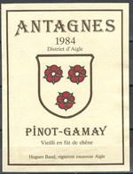 Etiquette De Vin Du Canton De Vaud  * Antagnes - Pinot-Gamay  * - Etiquettes