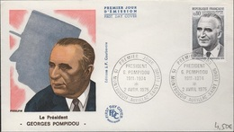 FDC 429 - FRANCE N° 1839 Président Georges Pompidou Sur FDC 1975 - FDC