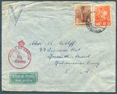 1942 Egypt O.A.S. Military Censor Airmail Cover SAAF - Johannesburg South Africa - Egypt