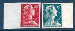 20 F Marianne De Muller : Deux Essais De Couleur Neufs Avec Trace De Charnière - 1955- Marianne Van Muller