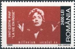 """921  Édith Piaf, Chanson """"La Vie En Rose"""": Timbre Roumanie, 2000 - Single Stamp From A """"20th Century""""-set. - Musique"""
