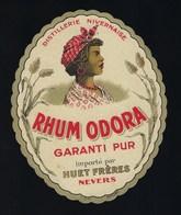 """Ancienne étiquette Rhum  Odora Garanti Pur Importé Par Huet Freres Nevers 58 """"visage Femme Coiffe"""" - Rhum"""