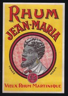 """Ancienne étiquette Vieux Rhum  Martinique Jean-Maria """"AB"""" Visage Homme - Rhum"""