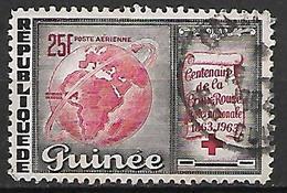 GUINEE    -    Aéro   -    1963 .  Y&T N° 35 Oblitéré.  Croix - Rouge - Guinée (1958-...)