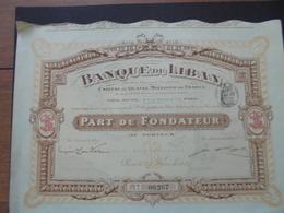 BANQUE DU LIBAN - PART DE FONDATEUR - PARIS 1913 - Shareholdings