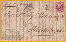 1865 - Belle Lettre Avec Correspondance De La Rochelle Par Vapeur Vers Philadelphie, USA - Convoyeur La Rochelle Tours - 1862 Napoleon III