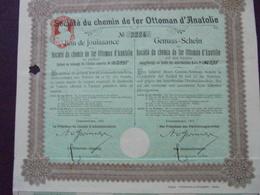 EMPIRE OTTOMAN - CDF D'ANATOLIE - BON DE JOUISSANCE - CONSTANTINOPLE 1911 - Shareholdings