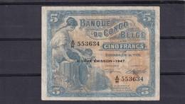 Belgisch Congo Kongo 5 Fr 1947 VF Beehive - [ 5] Belgisch Kongo