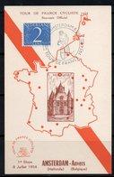 TOUR DE FRANCE CYCLISTE 1954 1ére ETAPE AMSTERDAM / ANVERS - CARTE 1/24 - Maximumkarten