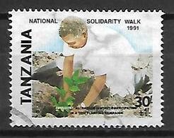 TANZANIE    -   1991 .  Oblitéré.  Solidarité Nationale  /  Le Président Plantant Un Arbre - Tanzanie (1964-...)