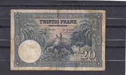 Belgisch Congo Kongo 20 Fr1946 Fine  Elephant  Fauna - [ 5] Belgisch Kongo