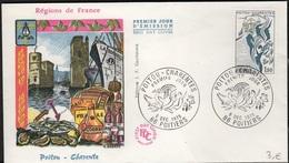 FDC 442 - FRANCE N° 1851 Poitou - Charente Sur FDC 1975 - FDC