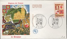 FDC 443 - FRANCE N° 1851 Bourgogne Sur FDC 1975 - FDC