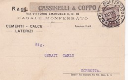 STORIA POSTALE - CASALE MONFERRATO (AL) RAGG. CASSINELLI E COPPO - VIAGGIATA PER CORBETTA ( MILANO) - 1900-44 Vittorio Emanuele III