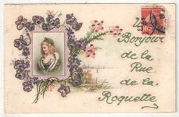 75 - PARIS 11 - Un Bonjour De La Rue De La Roquette - 1908 - Paillettes - Distretto: 11