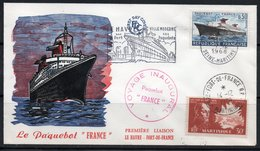 FDC PREMIERE LIAISON LE HAVRE FORT DE FRANCE PAQUEBOT 1968 TIMBRE MARTINIQUE - Commemorative Postmarks
