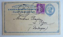 CURIOSITE Etats Unis Entier Postal 2 Cent Union Postale Universelle Affranchit En 1937 En France Avec Un 40 C Type Paix - Postal Stationery