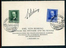 """Deutsches Reich / 1940 / Mi. 760/761 A. Sonderkarte """"EMIL VON BEHRING"""", So-Stempel Marburg (12179) - Allemagne"""