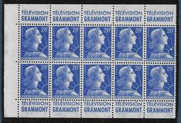 20 F Marianne De Muller : Bloc De 10 Issu De Carnet Pubs Grammont - Grammont - 1955- Marianne De Muller