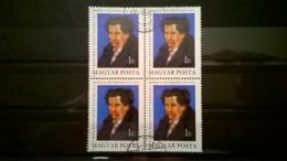 FRANCOBOLLI STAMPS UNGHERIA MAGYAR POSTA 1979 USED QUARTINA ANNIVERSARY ZSIGMOND MORICZ SENZA GOMMA HUNGARY - Ungheria