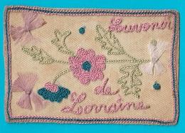 Carte Ancienne Brodée Souvenir De Lorraine Chardons Carte Correspondance Militaire - Ricamate