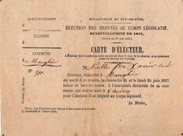 VP14.745 - Commune De MANGLIEU 1857 - Carte D'Electeur - Mr F.X. PIOLLE Curé - Cartes