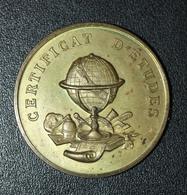 """Médaille De Récompense D'école En Bronze XIXe """"Certificat D'Etude"""" - Professionals/Firms"""
