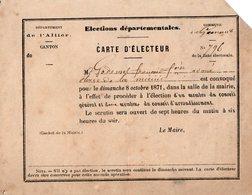 VP14.746 - Commune De GANNAT 1871 - Carte D'Electeur - Mr F. GODEMEL Avoué - Autres