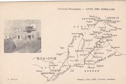 AFRIQUE. CPA. CARTE GÉOGRAPHIQUE. SÉRIE COLONIES FRANÇAISES. COTE DES SOMALIES - Congo Français - Autres