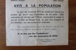 Affiche 1939 1945  Avis A La Population   Les Ports Des Brassards FFI  Est Reservé Aux Groupes ... - 1939-45