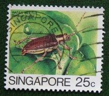 25 C Insects Insekt WATER BEETLE 1985 Mi 467 Used Gebruikt Oblitere SINGAPORE SINGAPUR - Singapur (1959-...)