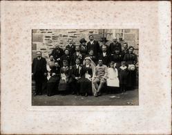 Grande Photo Originale Portrait De Mariés & Mariage, Les Invités, Poilu & Veuve, Enfants & Renards Vers 1910 - Personnes Anonymes