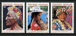 POLYNESIE 1987 N° 272/274 ** Neufs MNH Superbes C 3.70 € Visages Vieillard Fleurs Flowers Femmes Chapeau Collier - Polinesia Francesa